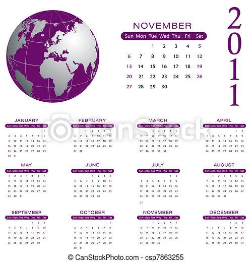 2011 Calendar - November - csp7863255