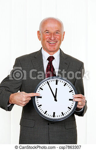 manager with clock 11:55 - csp7863307