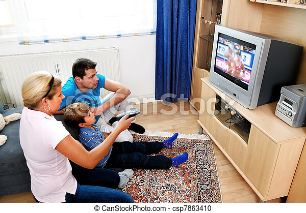 family watching television - csp7863410