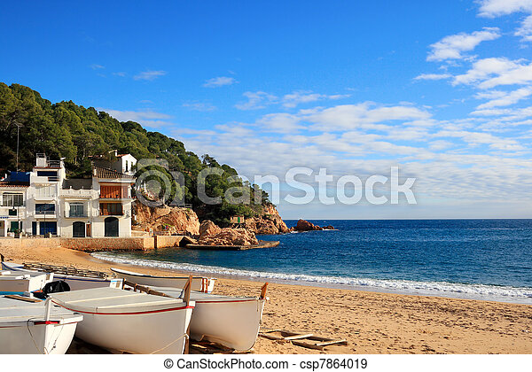 Boats on the beach at Tamariu (Costa Brava, Spain) - csp7864019