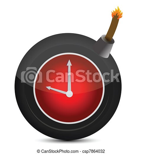 Clock in a bomb. Illustration - csp7864032