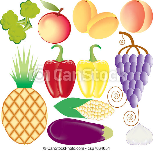 fruits and vegetables vector se - csp7864054