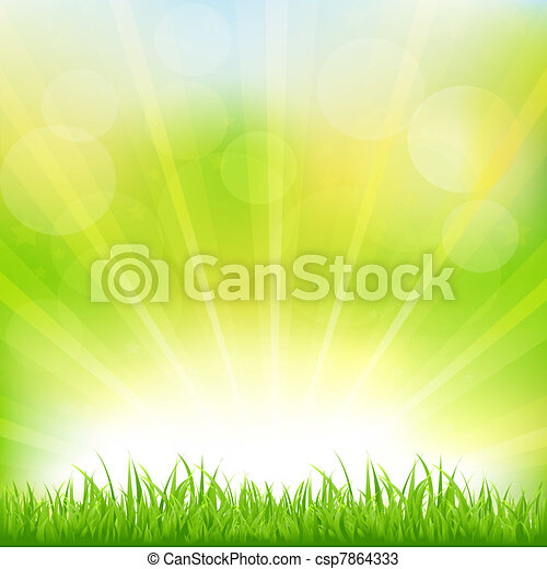 Green Background With Green Grass And Sunburst - csp7864333