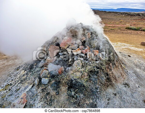 Iceland geothermal fumarole - csp7864898