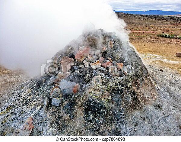 Iceland geothermal fumarole - csp7864898