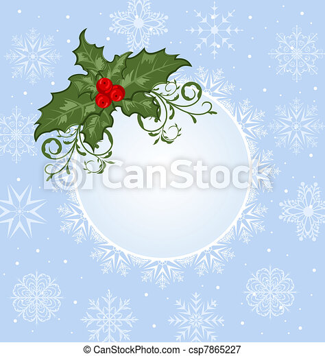 Christmas celebration card with branch - csp7865227