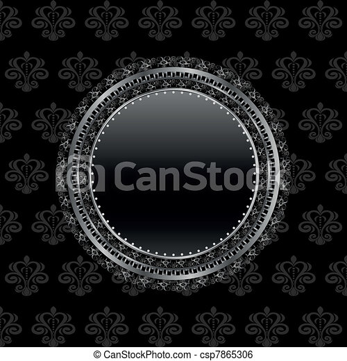 heraldic circle shield on floral background - csp7865306