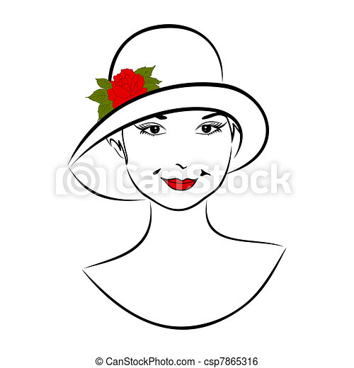 vintage girl face in hat with rose - csp7865316