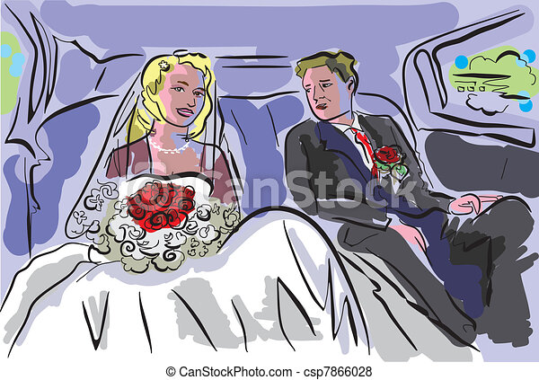 wedding pair inside car - csp7866028