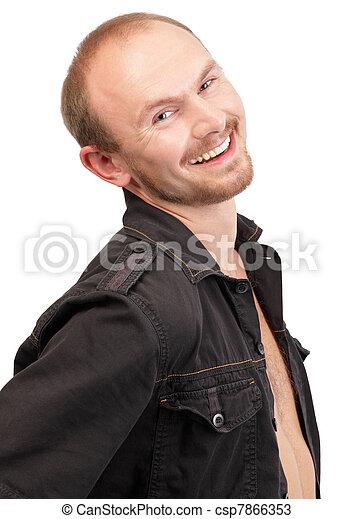 photos de sourire jeune macho portrait jeune chauve et barbu csp7866353 recherchez. Black Bedroom Furniture Sets. Home Design Ideas