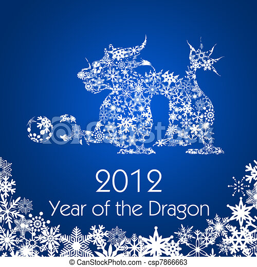 Chinese New Year Dragon with Snowflakes Pattern - csp7866663