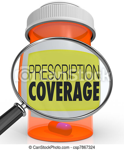 Prescription Coverage Magnifying Glass Medicine Bottle - csp7867324