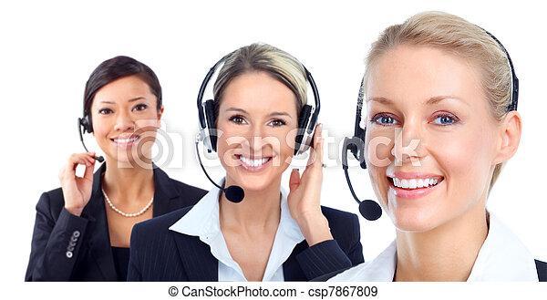 Call customer center operator. - csp7867809
