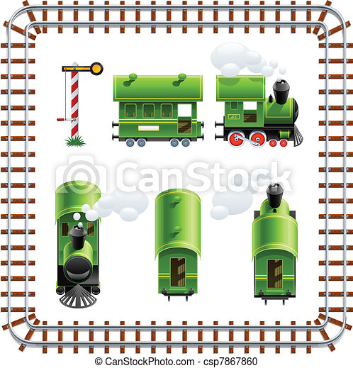 green vintage locomotive with coach set - csp7867860