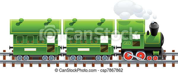 green retro locomotive with coach - csp7867862