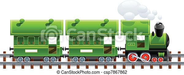 green retro locomotive with coach - csp7867862