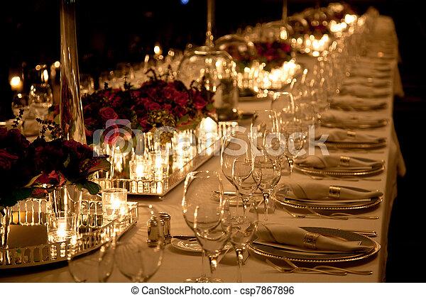 Stock Image of Elegant table setting - Elegant candlelight ...