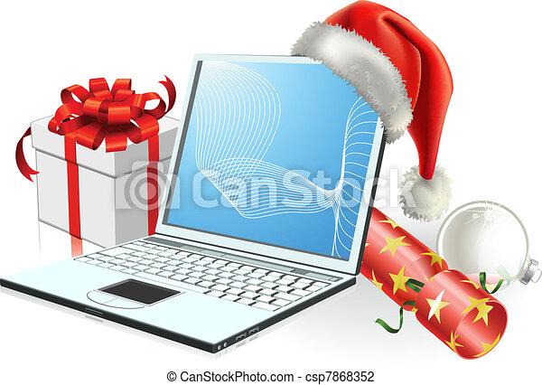 Christmas laptop computer - csp7868352