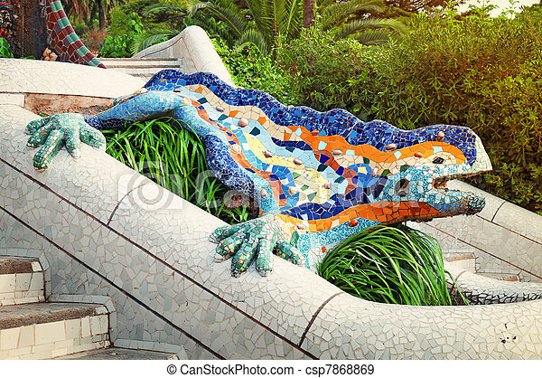Lizard Fountain at Park Guell in Barcelona - Spain - csp7868869
