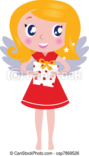 Christmas cartoon angel Girl with gift isolated on white - csp7869526
