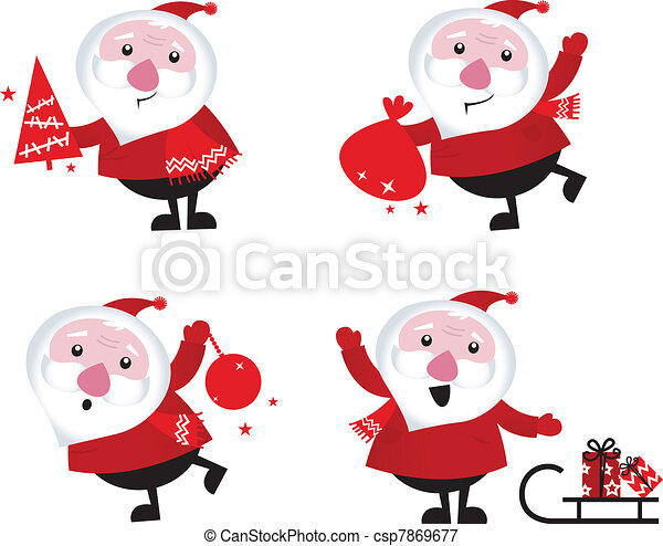 Cute Santa Clip Art Vector - cute cartoon santa