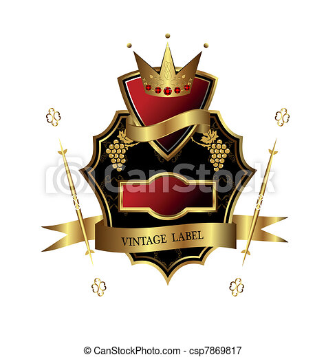 Illustration of black golden label for design heraldic or packing wine isolated on white background - vector - csp7869817