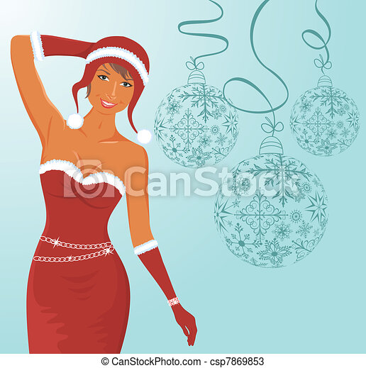 christmas background with sexy lady and balls - csp7869853