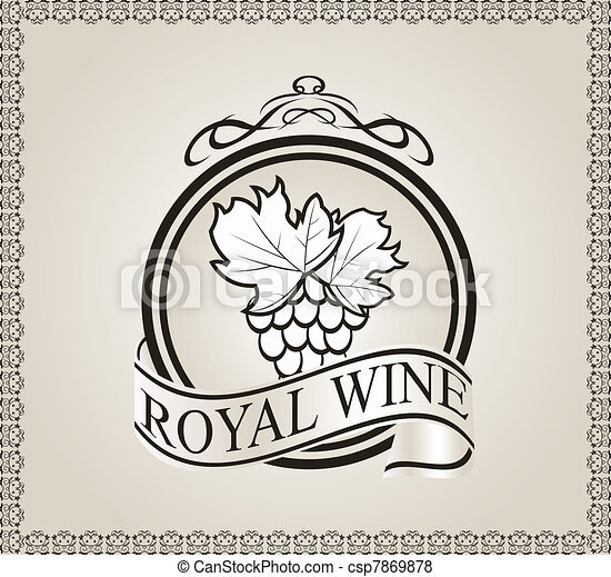retro label for packing wine - csp7869878