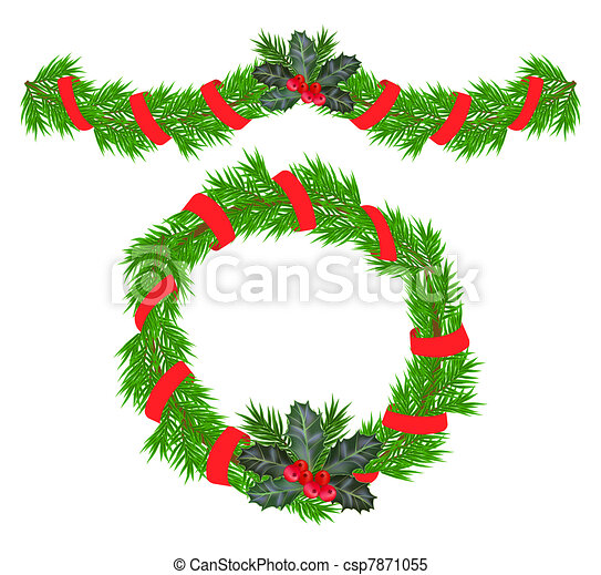 Clipart Vector of Christmas garland and a wreath wit ...