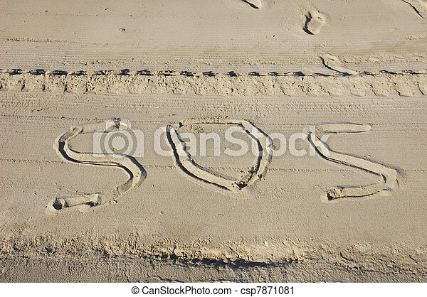 SOS for help on the beach and foot prints - csp7871081