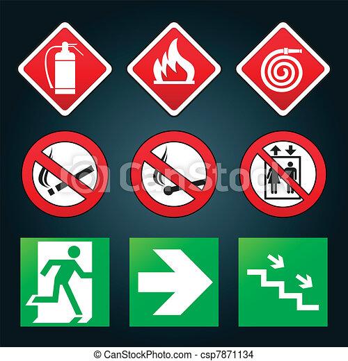 Emergency fire exit door signs - csp7871134