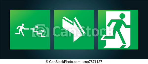Emergency fire exit door signs - csp7871137