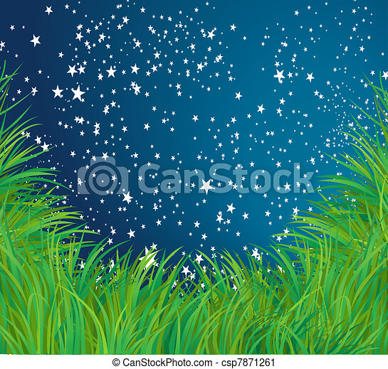 Grass and stars vector background - csp7871261