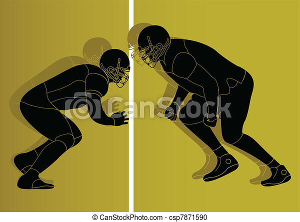 American football player vector - csp7871590
