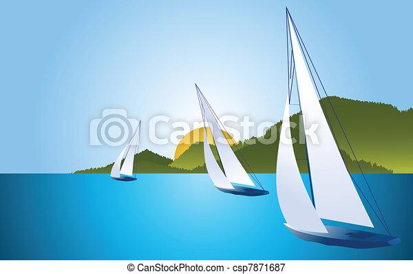 Yacht - sailing boat regatta vector - csp7871687
