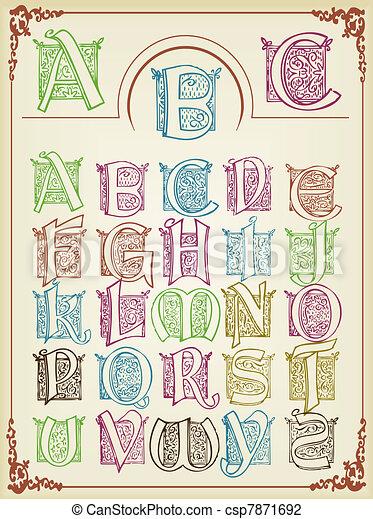 Vintage colorfull alphabet - csp7871692
