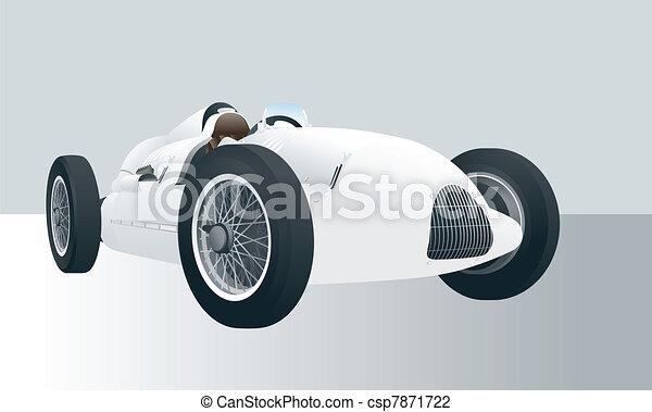 Vintage vector racing car - csp7871722