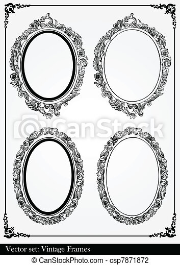 Abstract vintage frame and elements - csp7871872