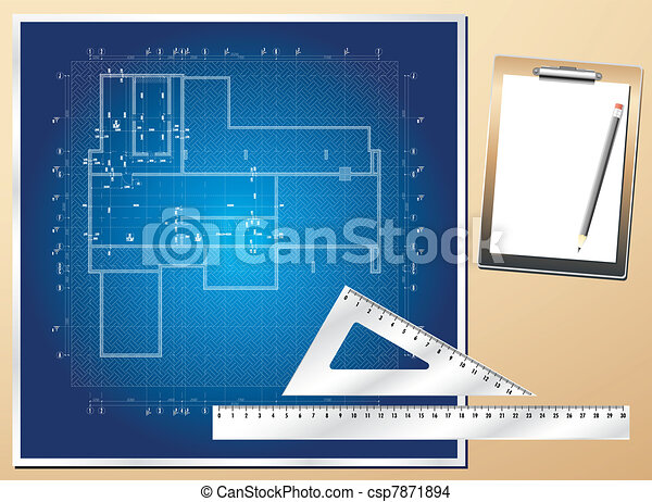Drawing plan architectural - csp7871894