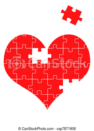Puzzle heart, vector illustration - csp7871908