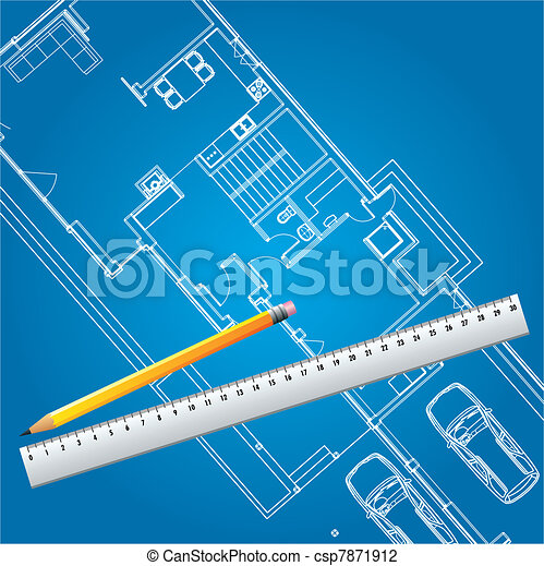 haus,  plan, vektor, Blaupause - csp7871912