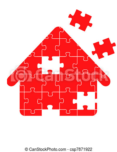 Red Puzzle Home vector - csp7871922