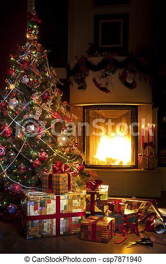 Christmas Tree and Christmas gift - csp7871940