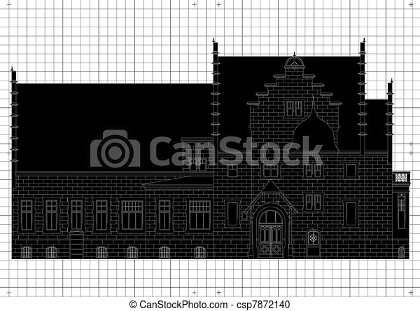 Vintage house architectural plan - csp7872140