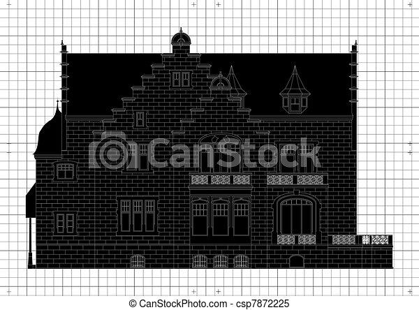 Clipart vektor von weinlese haus architektonisch plan for Haus plan bilder