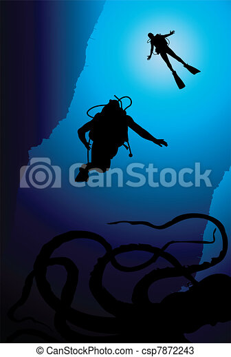 Colorful scuba diver vector - csp7872243