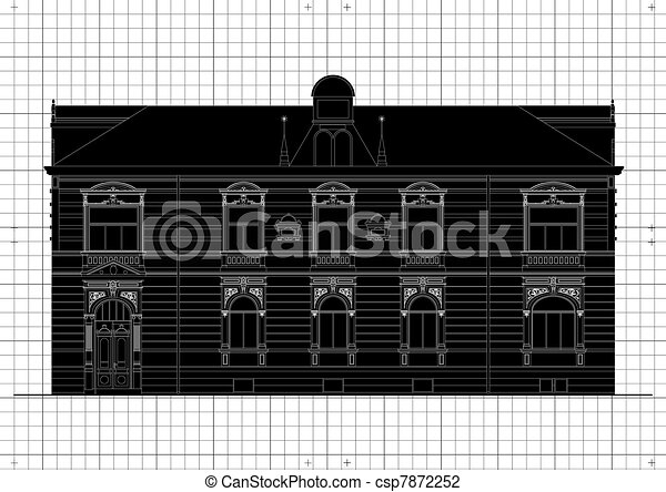 Vintage house architectural plan - csp7872252