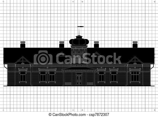 Vintage house architectural plan - csp7872307