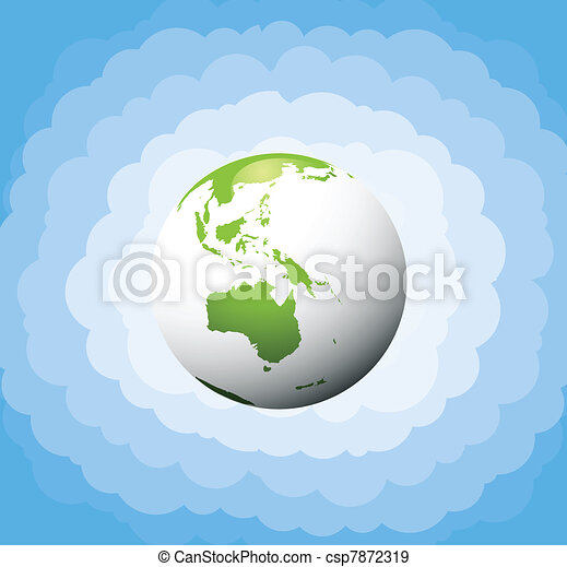 Ecology green planet vector concept - csp7872319