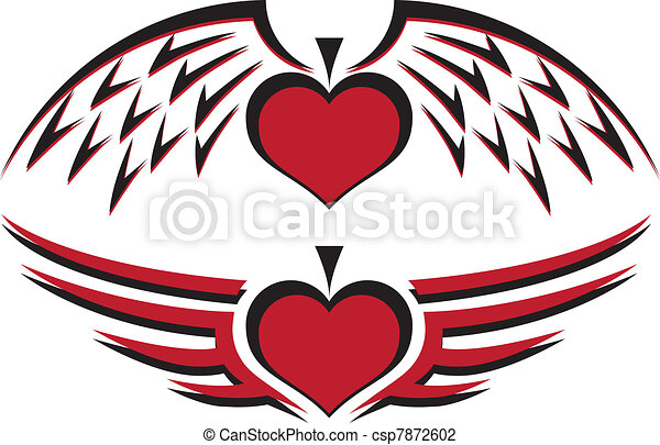 Winged Heart & Spade - csp7872602